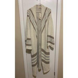 Long Length Sweater  Cream, Tan & Gray